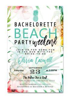 beach bachelorette party invitation, luau bachelorette party invitation, beach weekend, palm springs, miami, california,  bachelorette getaway, floral bachelorette party
