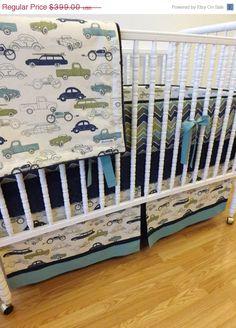 Baby Boy Grey Vintage Car Truck Route 66 Crib Nursery
