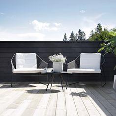 At terrace of Nina Holst Outdoor Lounge, Outdoor Areas, Outdoor Rooms, Outdoor Chairs, Outdoor Living, Outdoor Furniture Sets, Outdoor Decor, Outdoor Balcony, Scandinavian Garden