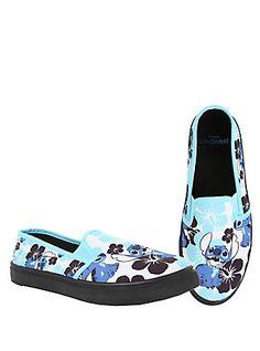 Disney Lilo & Stitch Floral Slip-On Shoes, BLACK