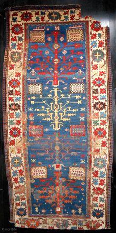 Very rare blue-ground Tree Kazak > dated 1846