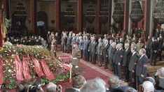 Funeral of General Secretary of the CPSU Central Committee Konstantin Chernenko in the Hall of Columns of the House of Unions, 1985. Gorbachov was already presiding the funeral commission.