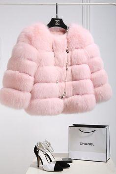 Casaco de Pele Rosa Pastel