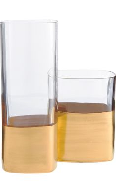 Marc Blackwell Glass Set: clear squared highball glass and double old fashioned, with gold metal-enriched paint.