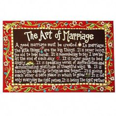 """Glory Haus """"Art of Marriage"""" Wall Decor, Brown Oth Failing Marriage, Marriage Goals, Happy Marriage, The Art Of Marriage, Saving Your Marriage, Advice For Newlyweds, Best Marriage Advice, Quotes For Married Couples, Romantic Pick Up Lines"""