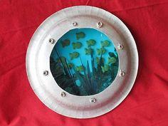 "Craft using paper plates to make an ""aquarium"""