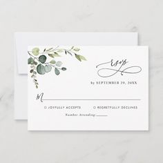 """Ad: Designed to coordinate with our Boho Greenery wedding collection this customizable RSVP card features a watercolor greenery foliage with calligraphy graphic text paired with a classy serif & modern sans font in black. To make advanced changes go to """"Click to customize further"""" option under Personalize this template. Here you can also change the color of the text: """"rsvp"""". #watercolor #foliage #leaves #eucalyptus #greenery #wedding #simple #rsvp #insert #enclosure #repl Spring Wedding Invitations, Watercolor Wedding Invitations, Wedding Rsvp, Wedding Stationery, Floral Wedding, Wedding Cards, Wedding Ideas, Wedding Planning, Wedding Simple"""