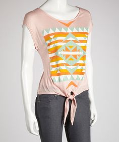 Take a look at this Peach Tribal Tie-Front Top by Tasha Apparel on #zulily today!