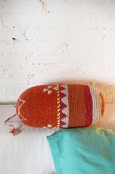 crochet cushion made ​​from Moroccan wool hats,