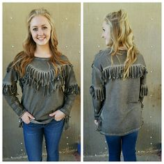 Olive fringe sweatshirt to keep warm! More Fall arrivals! #fallfashion #plaid #outfitdetails #back2school #denim #jeans #sharegoodness #thatsdarling #postthepeople #momstyle #floppyhat #vacation #floral #tee #chambray #style #newarrivals #denim #jeans #stripes #fall #fallfashion #vacation #lookbook #modestfashion #wearit #ogden #northogden #love #l4l #utah #utahboutique #musthave #fashionista #ootd #shopbellame