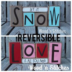 Reversible snow love primitive wood winter christmas snowflake snowman collector home seasonal decor . . . wood block set sold seperately on Etsy, $25.95