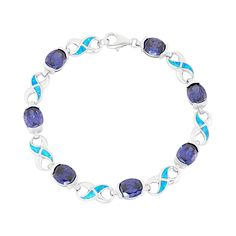 Featuring lab-created blue opals set within infinity links, and shimmering blue cubic zirconia stones, this sterling silver bracelet offers unsurpassed beauty. Comes in a gift box. Link Bracelets, Jewelry Bracelets, Geometric Wolf Tattoo, Blue Opal, Sterling Silver Bracelets, Turquoise Bracelet, Women Jewelry, Infinity, Stone