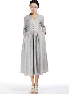 women linen dress fit and flare dress knee length dress v neck dress shirt dress marl gray pleated dress fall dress mod dress Linen Dresses, Women's Dresses, Vintage Dresses, Trendy Dresses, Casual Dresses, V Neck Dress, Shirt Dress, Pleated Shirt, Mod Dress