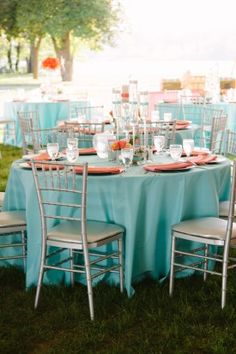 coral table linen for tropical reception - Google Search