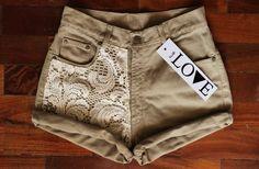 half white lace on beige shorts