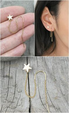 threader earrings filled heavenly gold thread thread, double piercings combo, set of two 2 connected earrings, - Dainty gold filled threader earring and star stud combination. The chain of the threader earrin -Star threader earrings fill. Bar Stud Earrings, Star Earrings, Crystal Earrings, Statement Earrings, Gold Earrings, Gold Bracelets, Double Earrings, Pandora Earrings, Unique Earrings