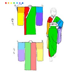 colour-coded kimono reference drawing