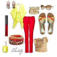 red/yellow..skinny jeans..outfit