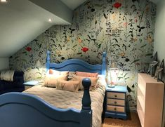 How fabulous does the Aquafleur wallpaper by @mindtgap look in Neil and Ruths bedroom? Ruth is a florist and Neil well Neil loves Ruth so he let her choose! But lets be honest that lovely aquamarine blue colour is a gorgeous backdrop to beautifully illustrated flowers. See wallpapers by Mind The Gap on our website now! #wallpaper #mindtgap #mindtgapwallpaper #decor #decorate #flowers #florist #colne #pendle #lancashire #aquafleur #gentle #serene #bedroom