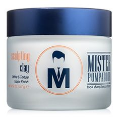 Mister Pompadour Sculpting Clay  Best Hair Product for Men and Women  2oz  Medium Hold  Matte Finish  All Natural Ingredients  Best Hair Clay  Pomade  Perfect for Hair Types that require Volume and Texture  Quiffs Pompadours Side Parts  Undercuts *** You can find out more details at the link of the image.