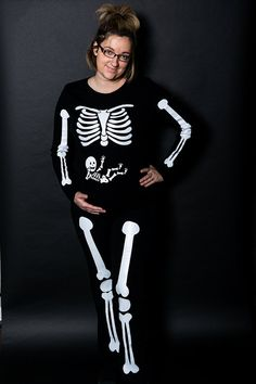 Full Body Pregnant Skeleton Iron On for DIY Maternity Costume