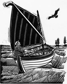 James Dodds, Around the Islands in Search of a Story, Linocut, 2009.