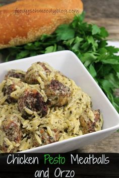 In this Chicken Pesto Meatballs and Orzo dinner, pesto is added to both the meatballs and the orzo for full flavor. Meatballs are lightened up with chicken