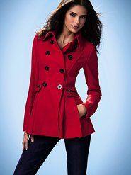 Women's Coats & Jackets: skirted pea coat.