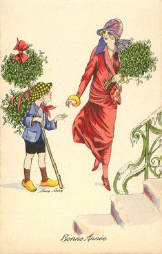 Full Sized Image: lady in pink buys large bunch of mistletoe from boy Ghost Of Christmas Past, What Is Christmas, Old Christmas, Victorian Christmas, Christmas Fashion, Retro Christmas, Christmas Ideas, Vintage Christmas Images, Christmas Pictures