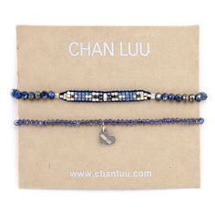 Chan Luu - Blue Mix Heart Charm Bracelet Set, $70.00 (http://www.chanluu.com/bracelets/blue-mix-heart-charm-bracelet-set/)