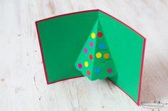 Tarjetas de Navidad (13) Christmas Canvas, Christmas Time, Triangle, Card Making, Greeting Cards, Crafts, Pop Up, Navidad Diy, Spanish