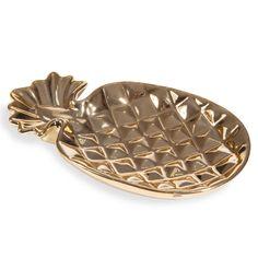 Coupelle à bijoux ananas en porcelaine dorée