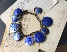 Blue Tin Charm Bracelet, Mixed Blue Tin, Blue Jean Jewelry, 10th Anniversary by eaststreettins on Etsy