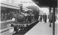 First Motor Train at Wallington Station, June 1906 Old London, West London, Southern Railways, Pen Drawings, Croydon, Surrey, Old Photos, June, England