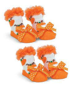 Love this Orange Pumpkin Ruffle Socks Set on #zulily! #zulilyfinds http://www.zulily.com/invite/kcrim608