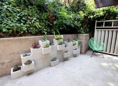 Concrete block planter - this would be so cool painted in primary colors, like Lego blocks!