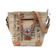 Italian Military Duffle Bag Tote Bag // Recycled and Repurposed by peace4you, GERMANY // Model pauline-2140