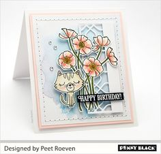 Whimsical and Wonderful Penny Black Cards, Penny Black Stamps, Kuretake Gansai Tambi, Cat Cards, Pearl Color, Watercolor Paper, Card Stock, Whimsical, Happy Birthday