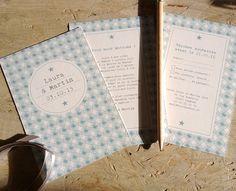 faire-part unique multicartes avec une carte prénoms, une carte invitation et un carton réponse RSVP avec un motif scandinave gris perle par exemple