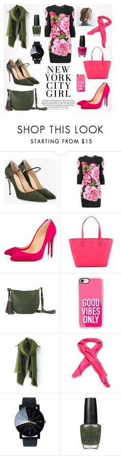 """""""Green or Pink?"""" by suljic-melika ❤ liked on Polyvore featuring Jennifer Chamandi, Dolce&Gabbana, Christian Louboutin, Kate Spade, Casetify, Louis Vuitton, OPI, dolceandgabbana and polyvoreset"""