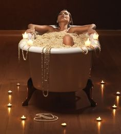 Bathing in pearls! My dream. I have so many I may be able to do this....Hummm.