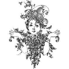 Botanical Countess Wood Mounted Stamp by Sandra Evertson