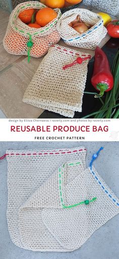 Reusable Produce Bag Free Crochet Pattern - Crochet for home - The Best Crochet Market Bags. This fun reusable bag is such a great alternative for all plastic one - Yarn Projects, Knitting Projects, Crochet Projects, Knitting Patterns, Crochet Thread Patterns, Crochet Bag Tutorials, Pattern Sewing, Knitting Ideas, Crochet Purses