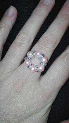 Ring in pink with swarovski