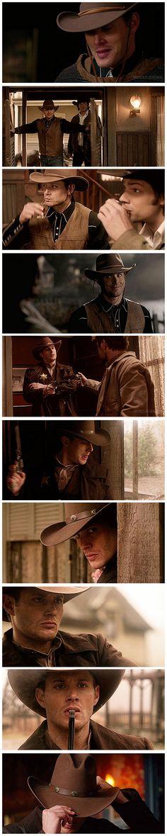 Cowboy Dean! Dean having way to much fun as a cowboy... and Sam, not as thrilled. [gifset] 6x18 Frontierland #SPN #Dean #Sam