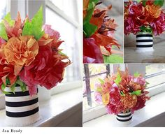 Cheap Centerpieces using coffee filter flowers/// auntpeaches blog, so much to see!