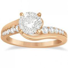 Allurez Diamond Engagement Ring Setting Swirl Design in 14k Rose Gold... ($1,010) ❤ liked on Polyvore
