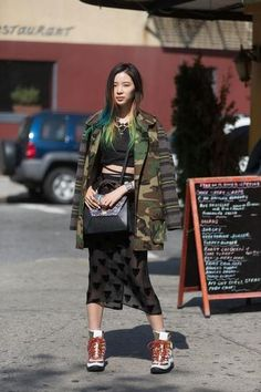 Fashion Week - Day 1 - Model Irene Kim rocks a camo jacket (and matching hair)