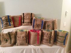 Here's a custom order of 10 burlap tote bags I finished. Each bag is unique and cut from its own burlap coffee bean sack sourced from local coffee roasters, Salt Spring Coffee and Roccanini in Vancouver, BC Jute Lunch Bags, Jute Bags, Burlap Art, Burlap Crafts, Coffee Bean Sacks, Burlap Sacks, Sack Bag, Handmade Bags, Paper Shopping Bag
