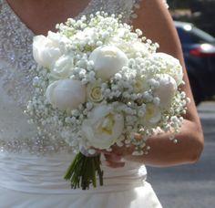 Peony, rose and gypsophila bouquet www.tortraitsfloraldesign.com